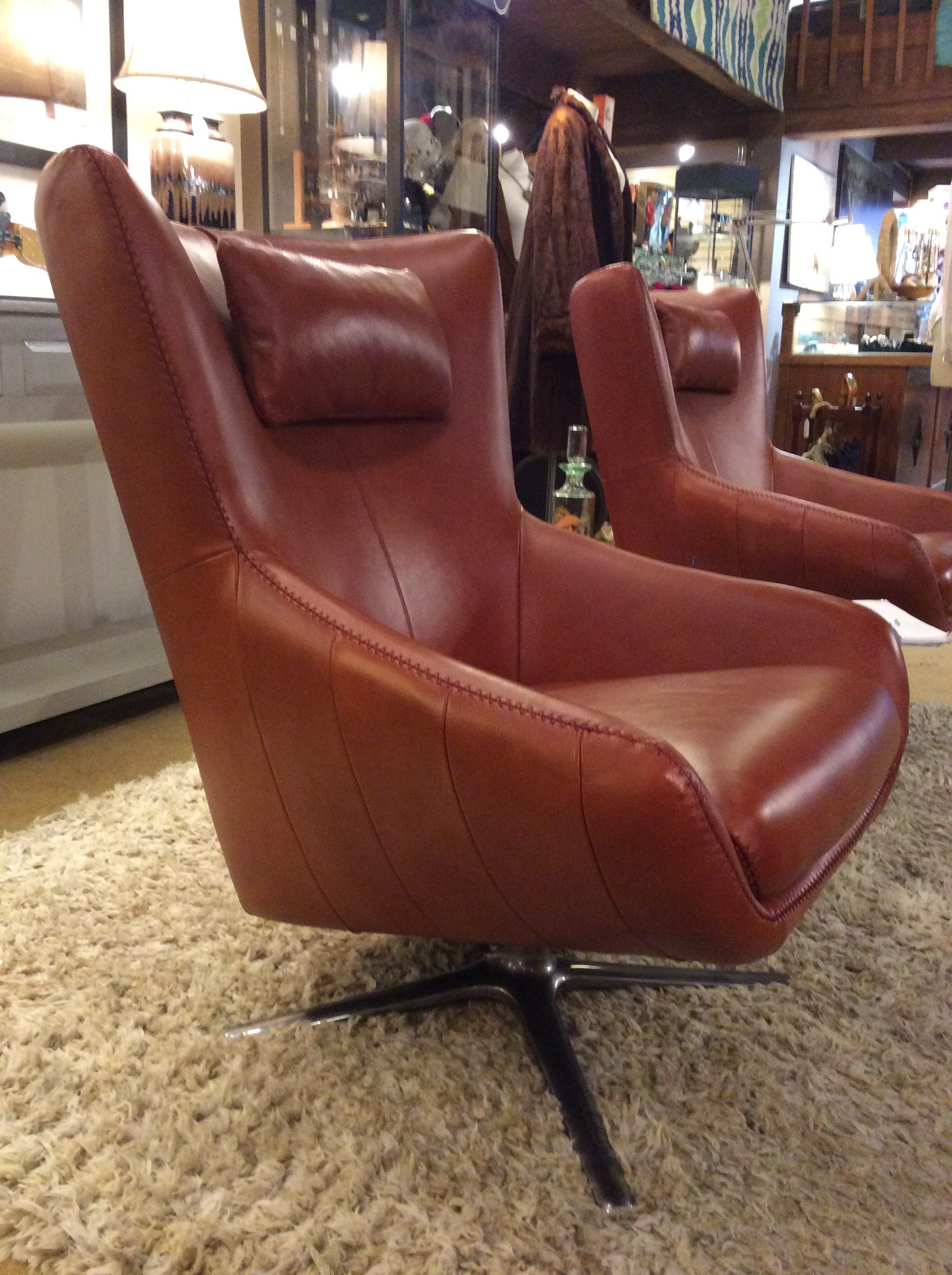 Bon Brown Leather Swivel Chair. Vintage Purple Leather Armchair SOLD