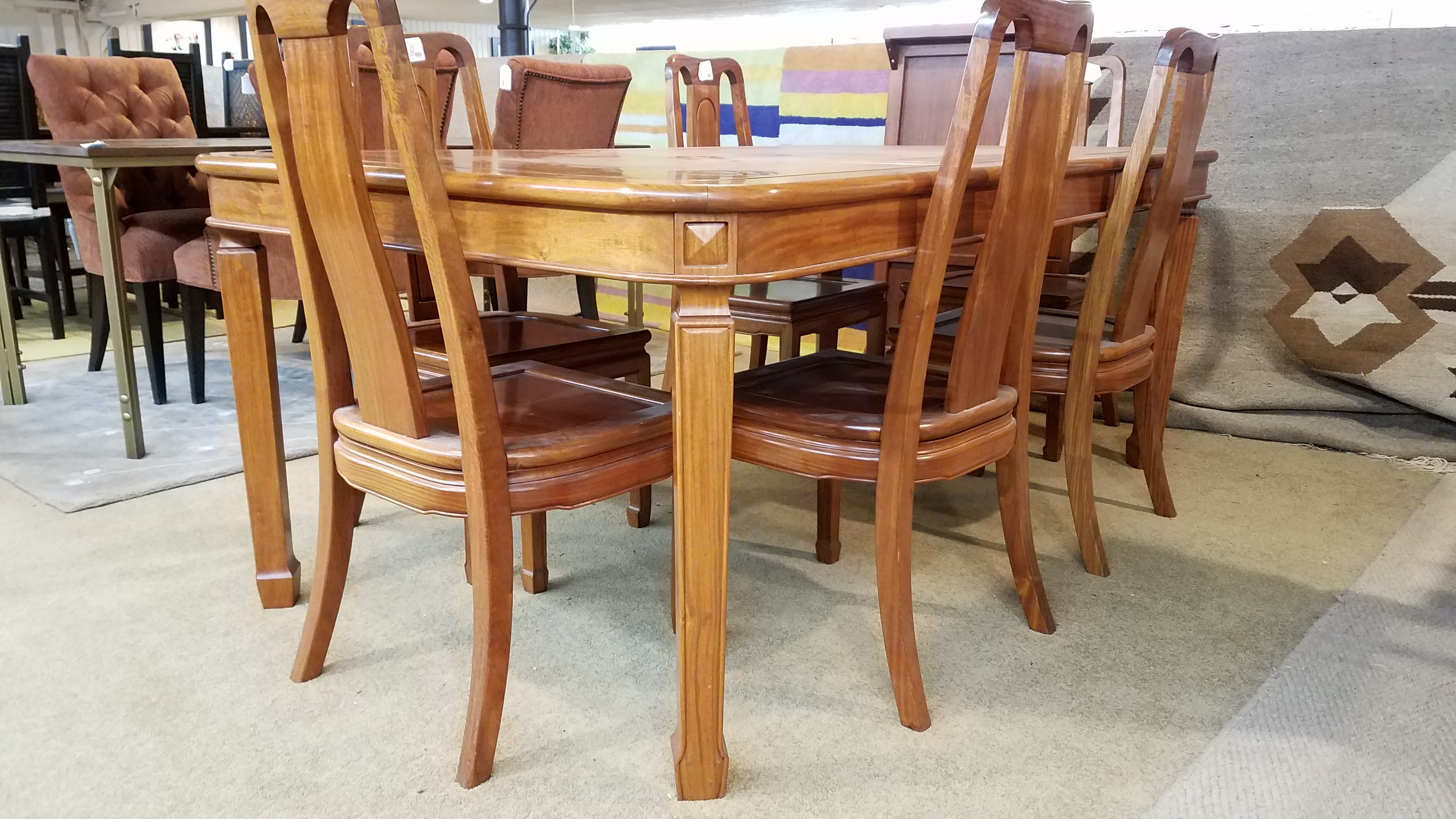 Asian Style Dining Table And Six Chairs Sold Ballard