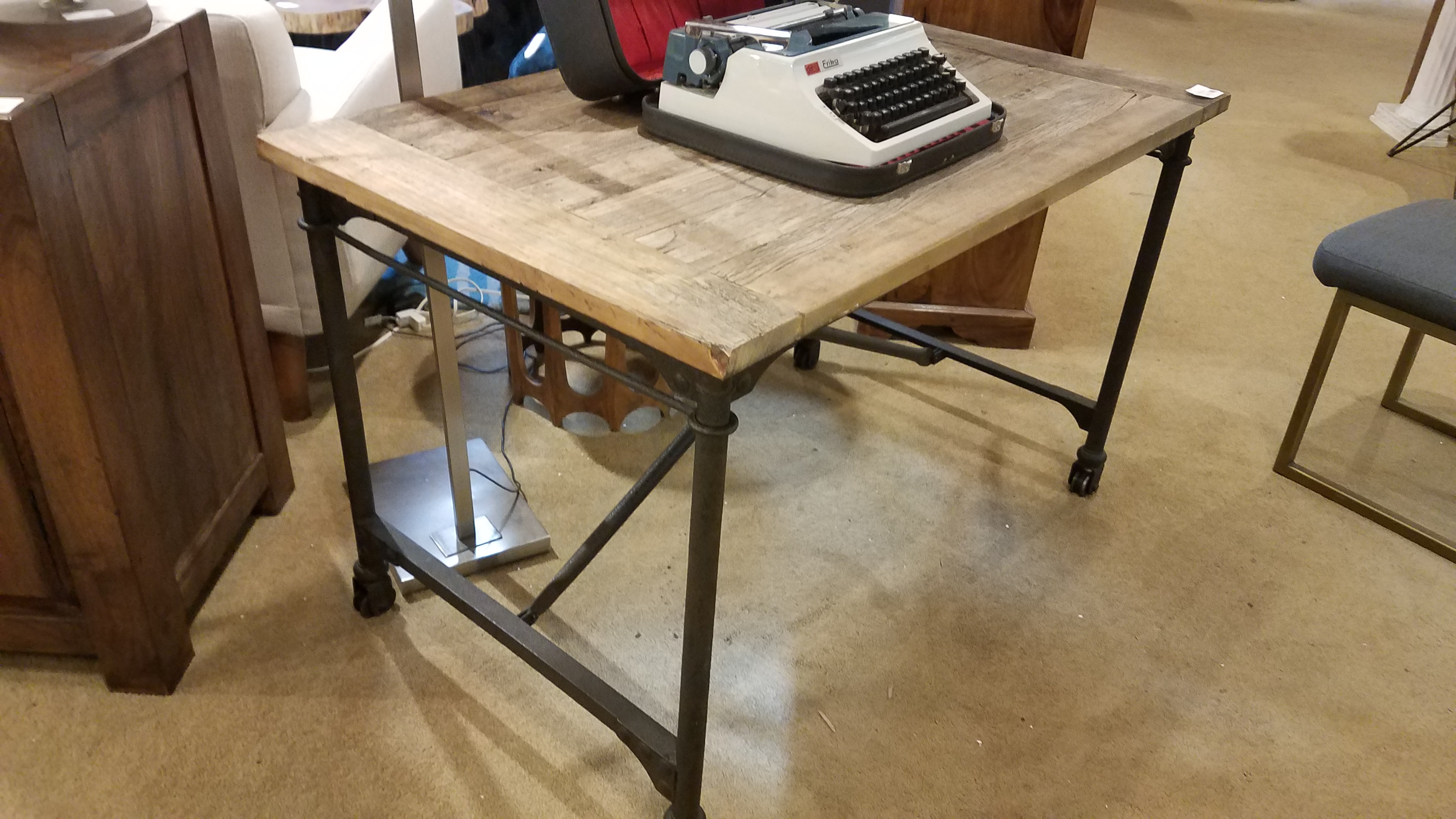 Surprising Rustic Metal Desk On Casters Sold Download Free Architecture Designs Scobabritishbridgeorg