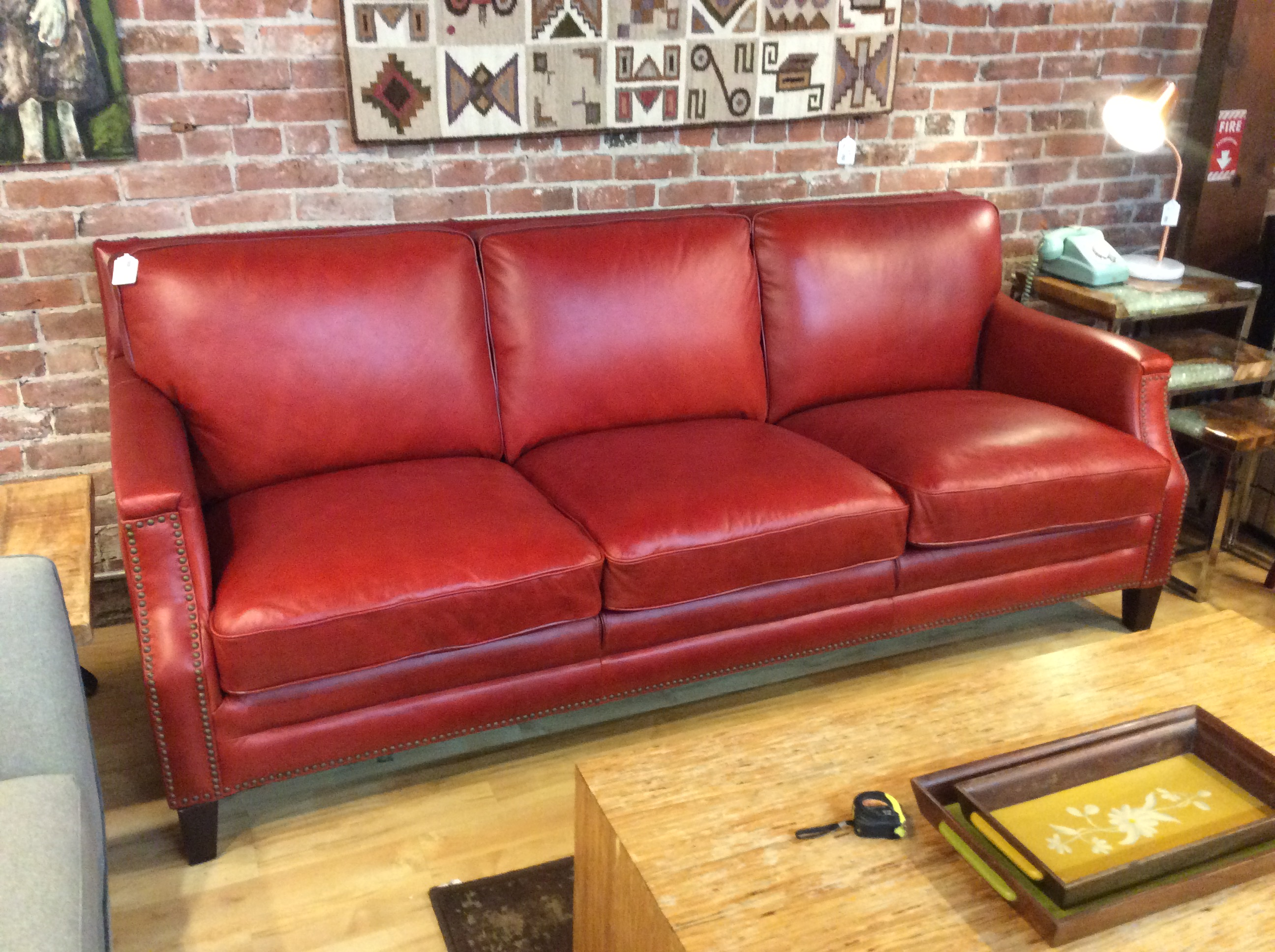 Red Leather Sofa SOLD