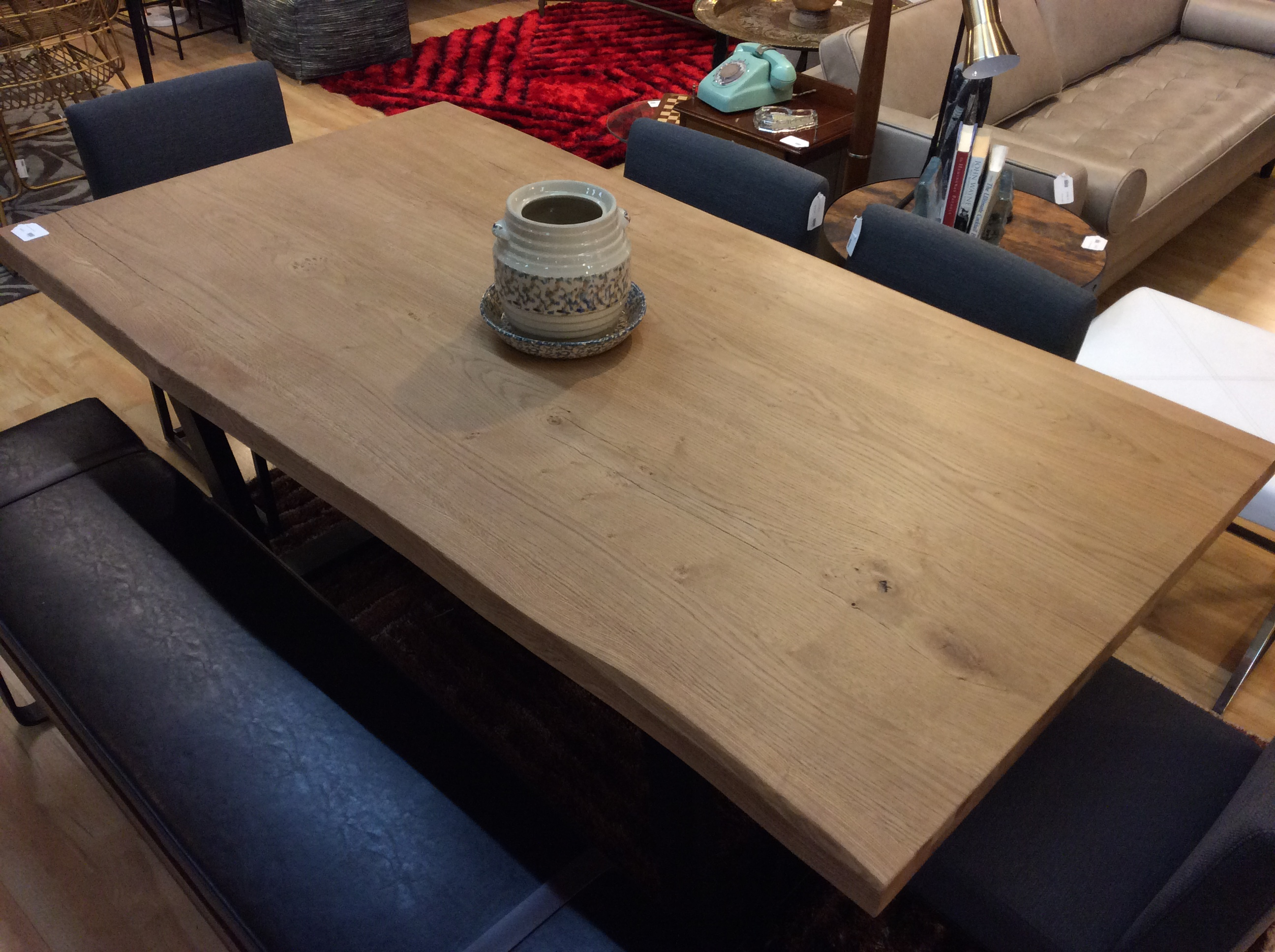 Waxed Oak Live Edge Dining Table