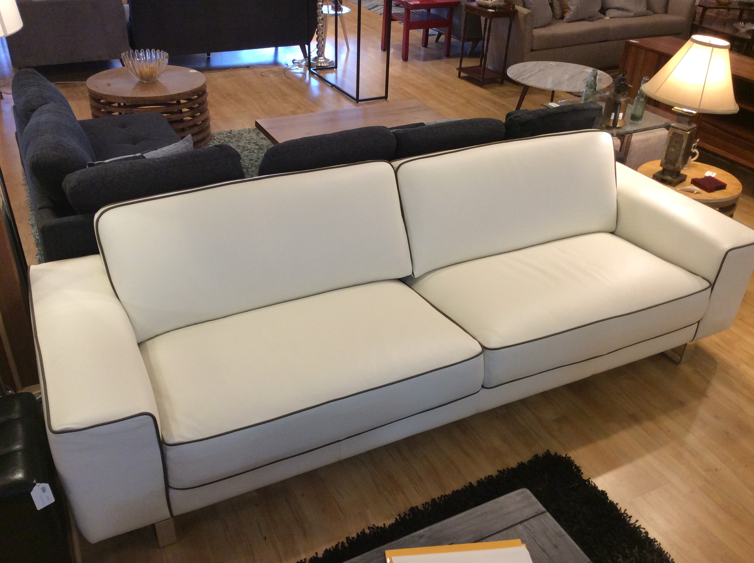 White Leather Sofa W Piping Sold