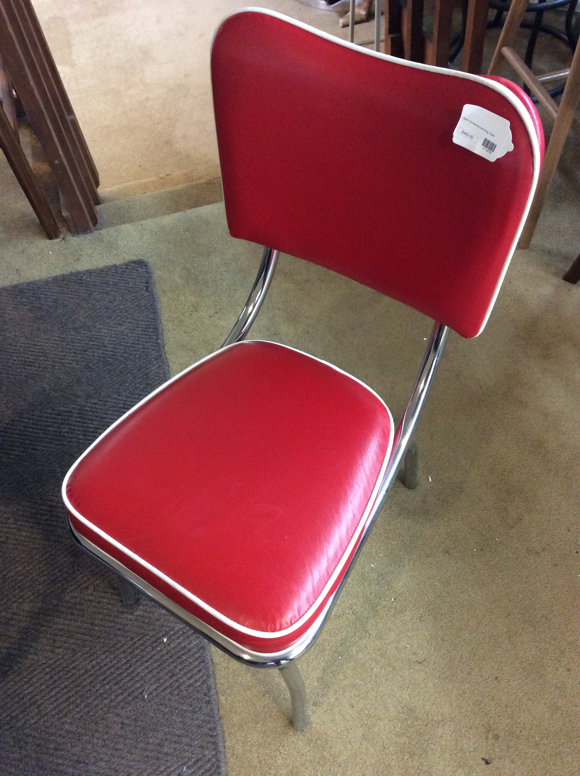 Surprising Set 4 Vintage Red Chrome Dining Chairs Sold Camellatalisay Diy Chair Ideas Camellatalisaycom