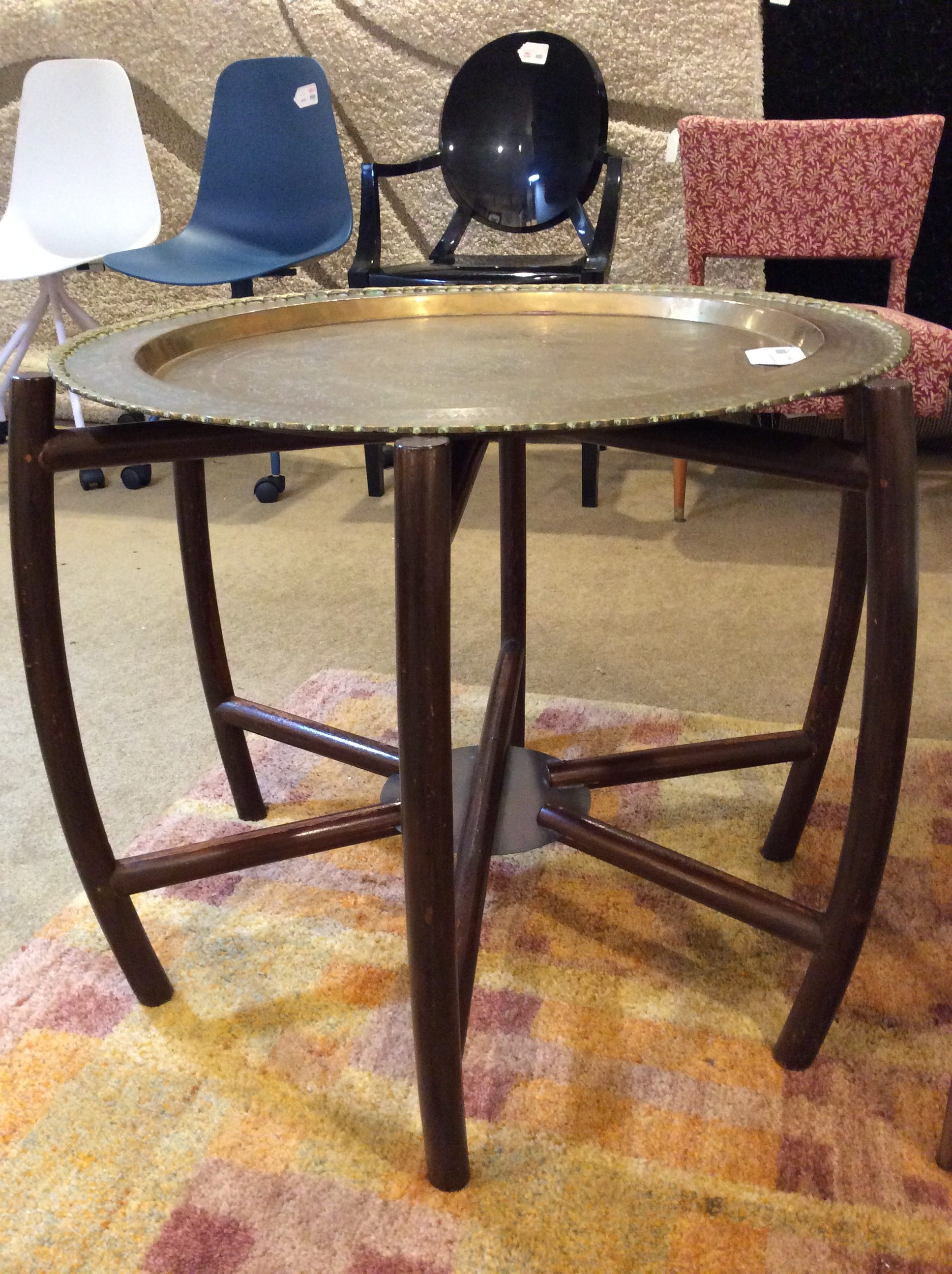 Stamped Copper Wood Table Sold Ballard Consignment