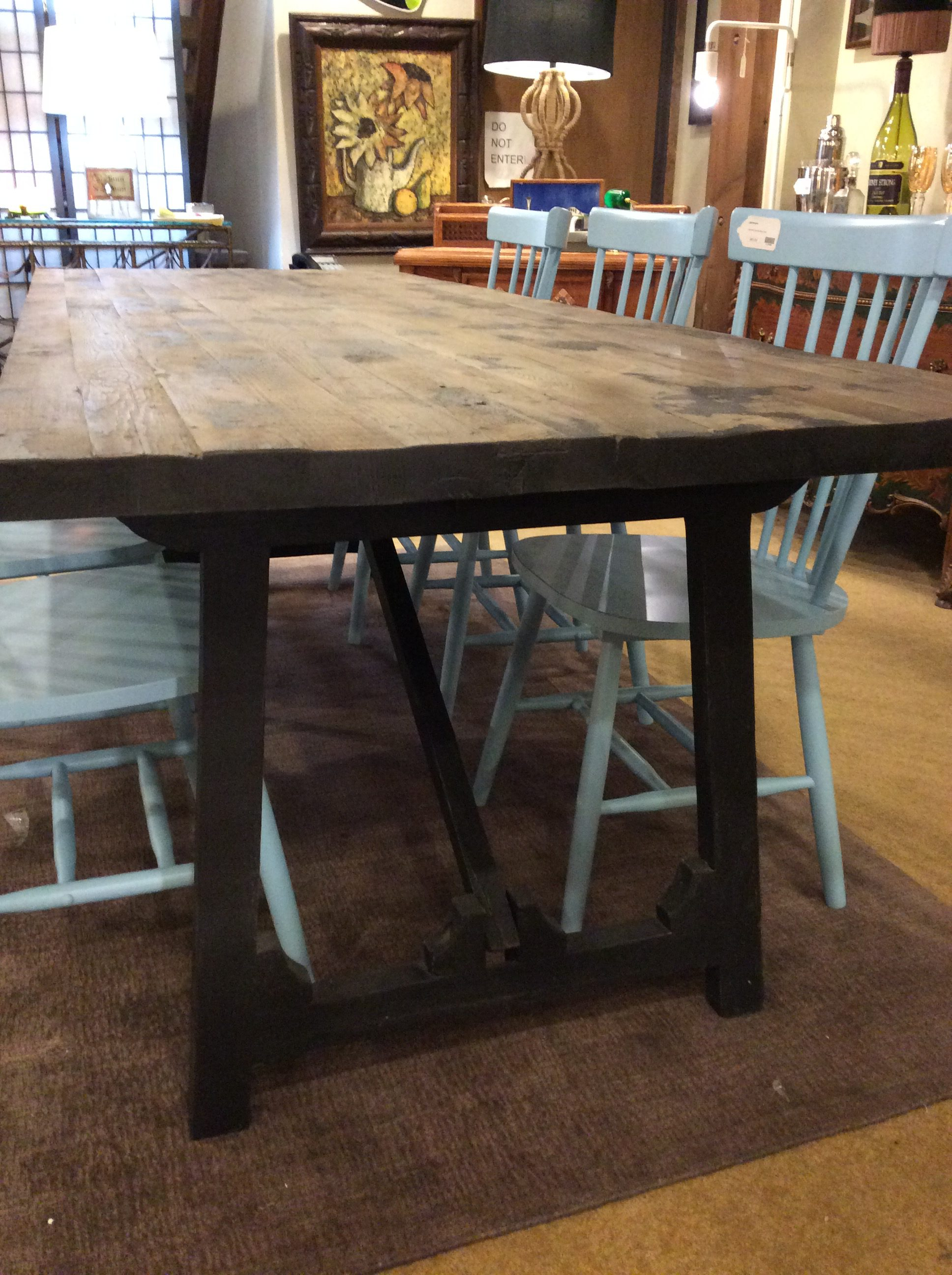 Black Base Rustic Dining Table Sold