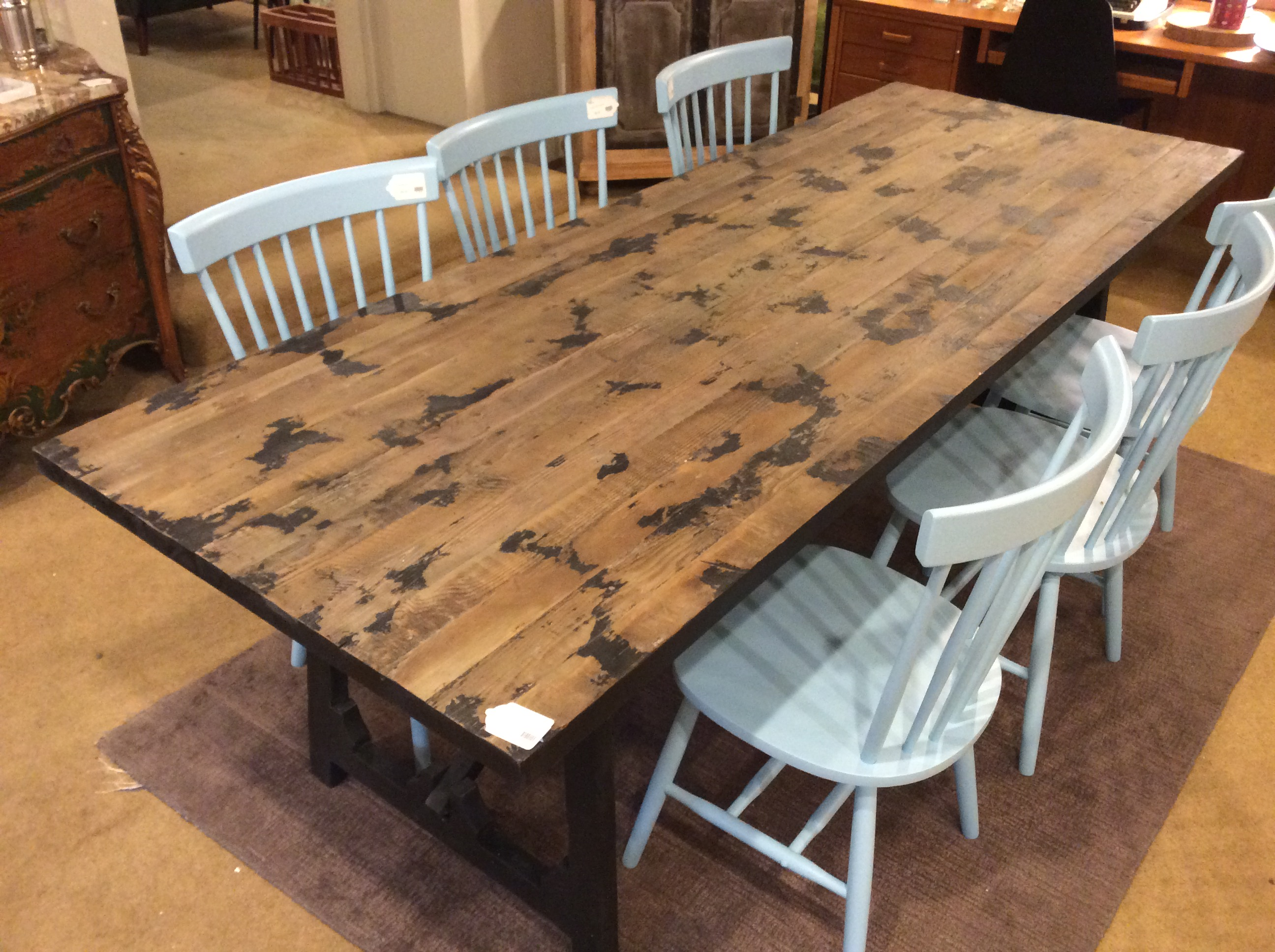 Picture of: Black Base Rustic Dining Table Sold Ballard Consignment