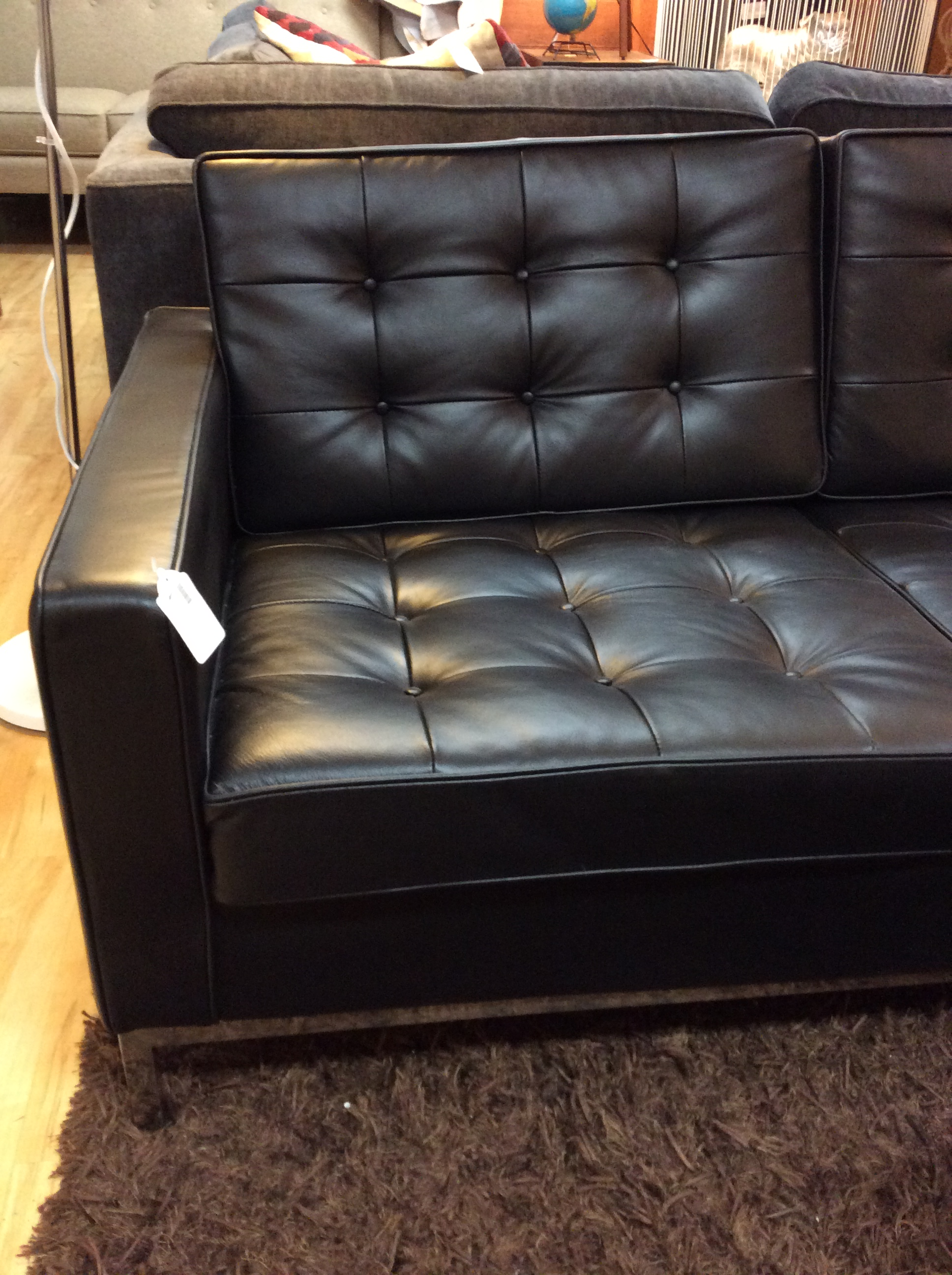 Mod Black Tufted Leather Sofa SOLD