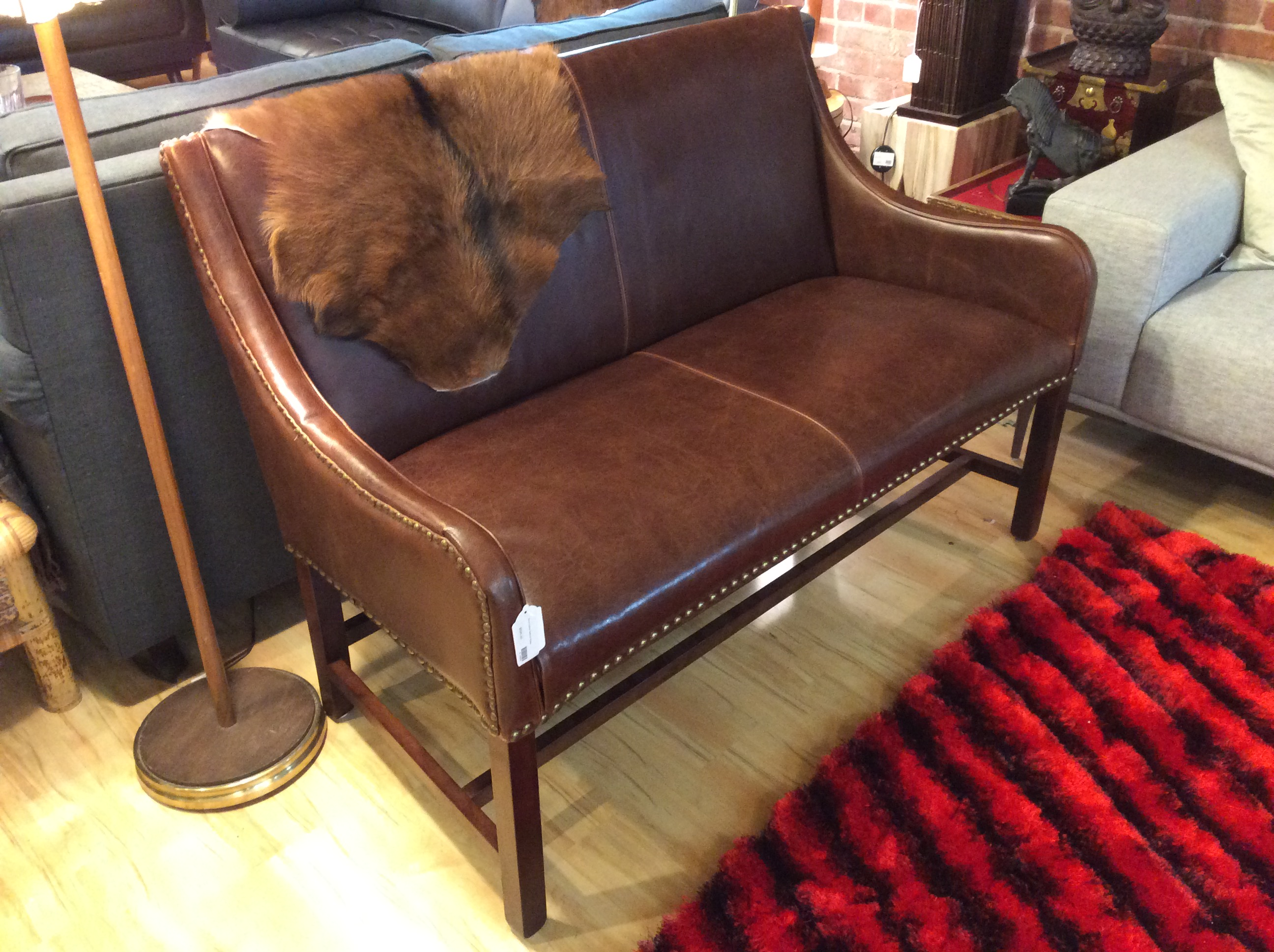Brown Leather Nailhead Sofa – Ballard Consignment