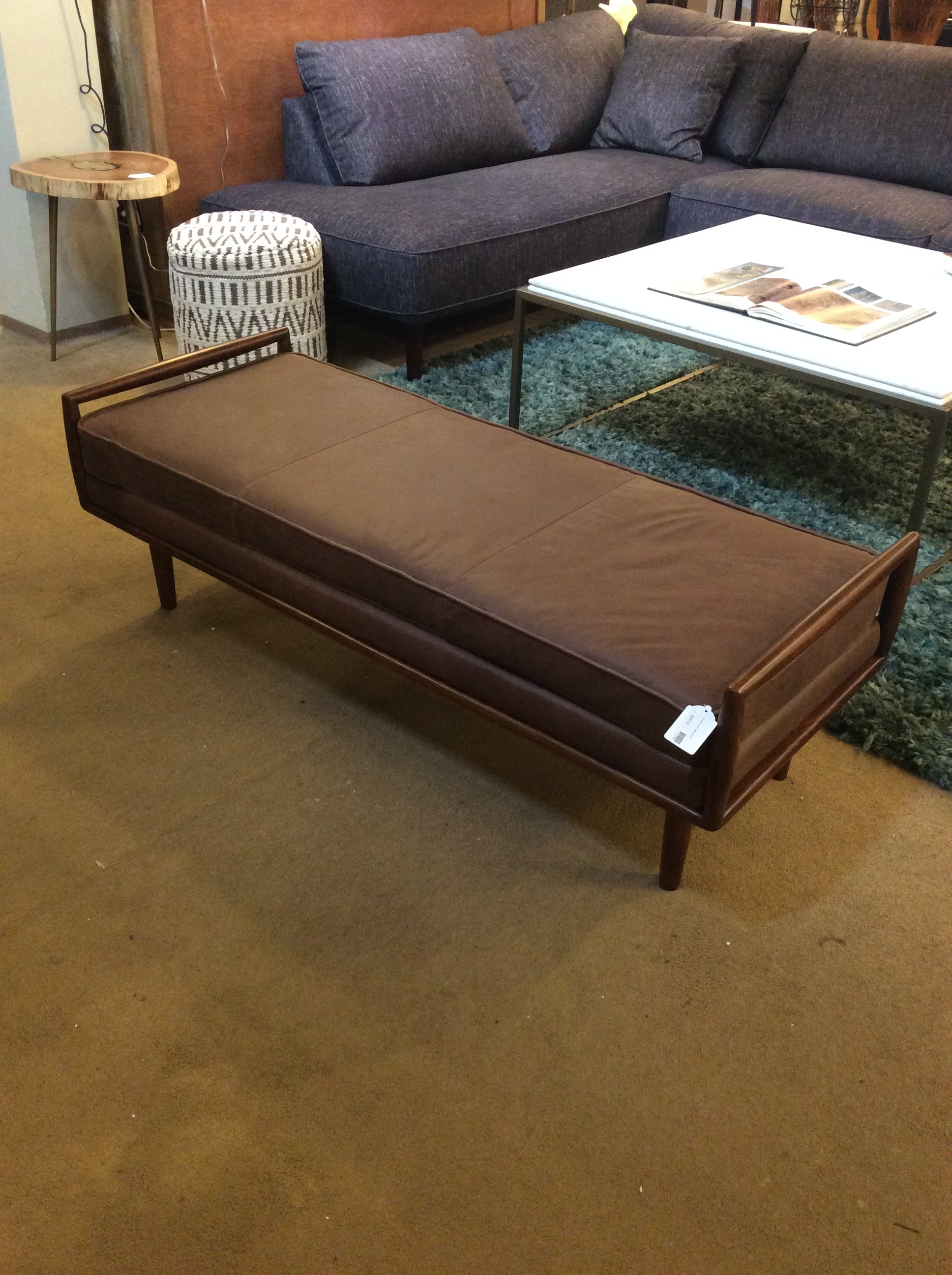 Amazing Mc Style Brown Leather Bench Sold Machost Co Dining Chair Design Ideas Machostcouk