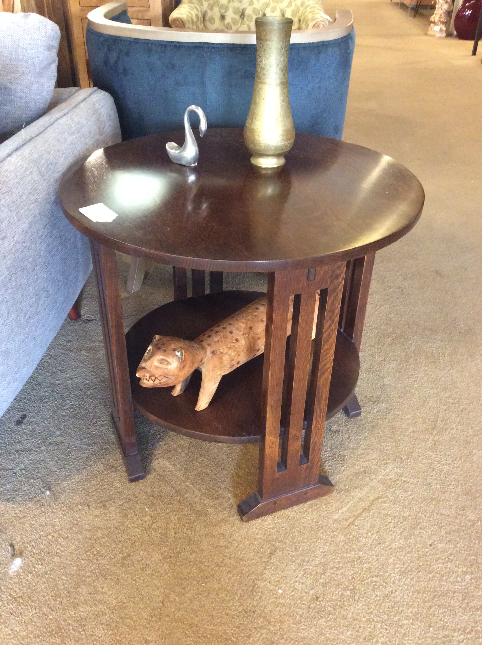 Stickley Round Wood Side Table Sold Ballard Consignment