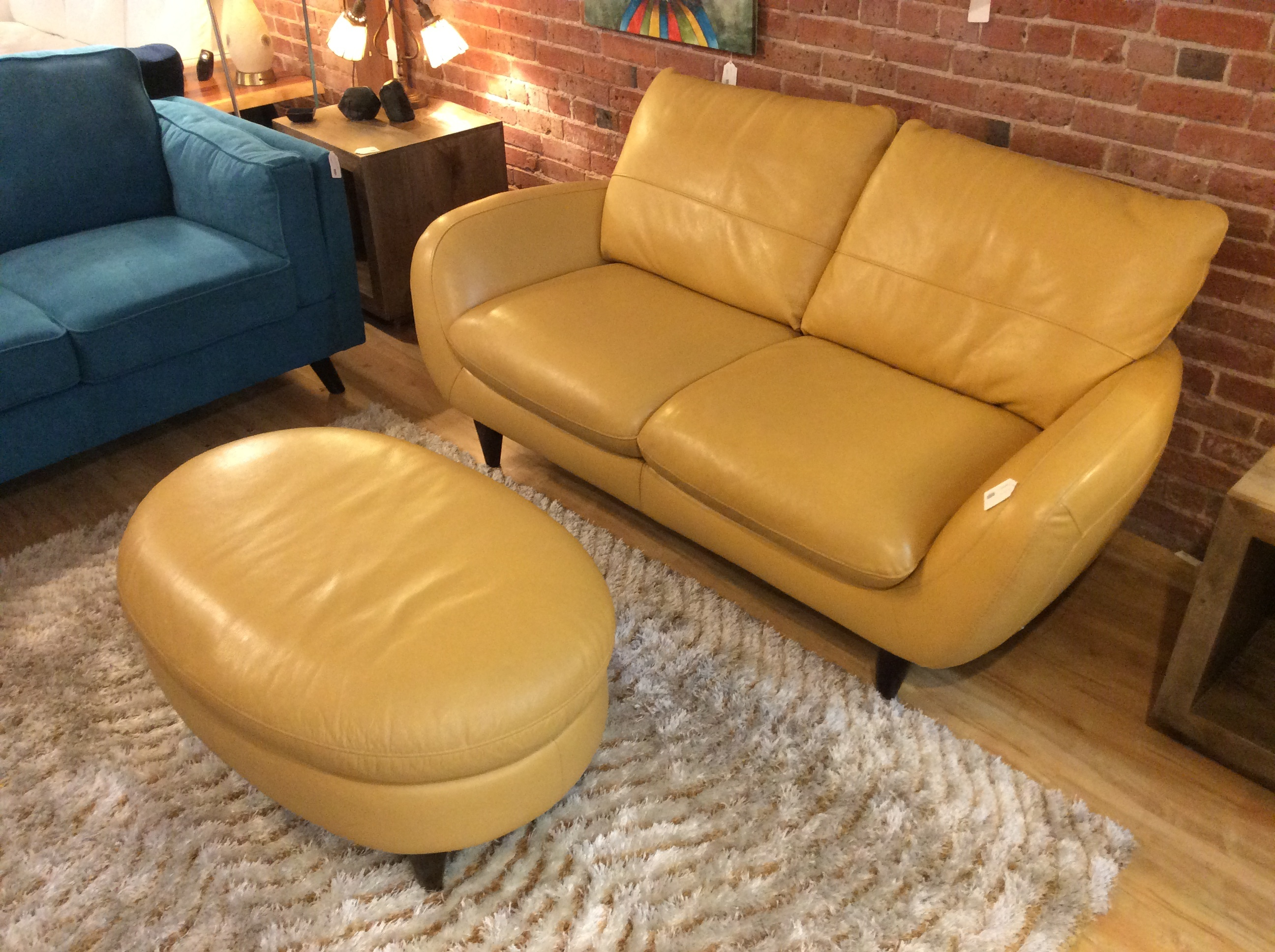 Yellow Leather Sofa & Ottoman SOLD