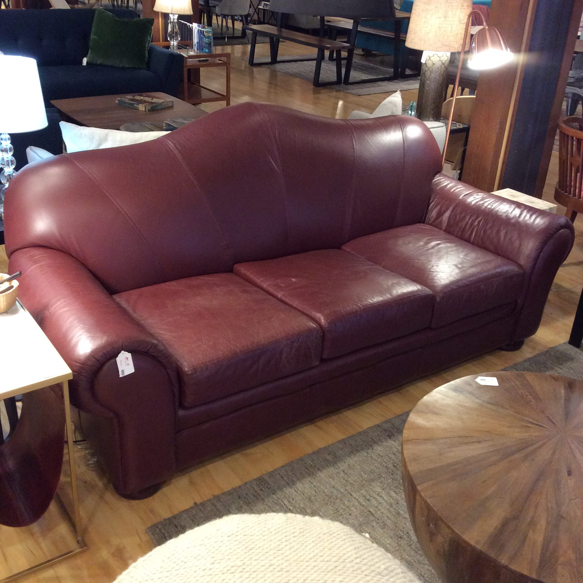 Burgundy Leather Sofa AS IS