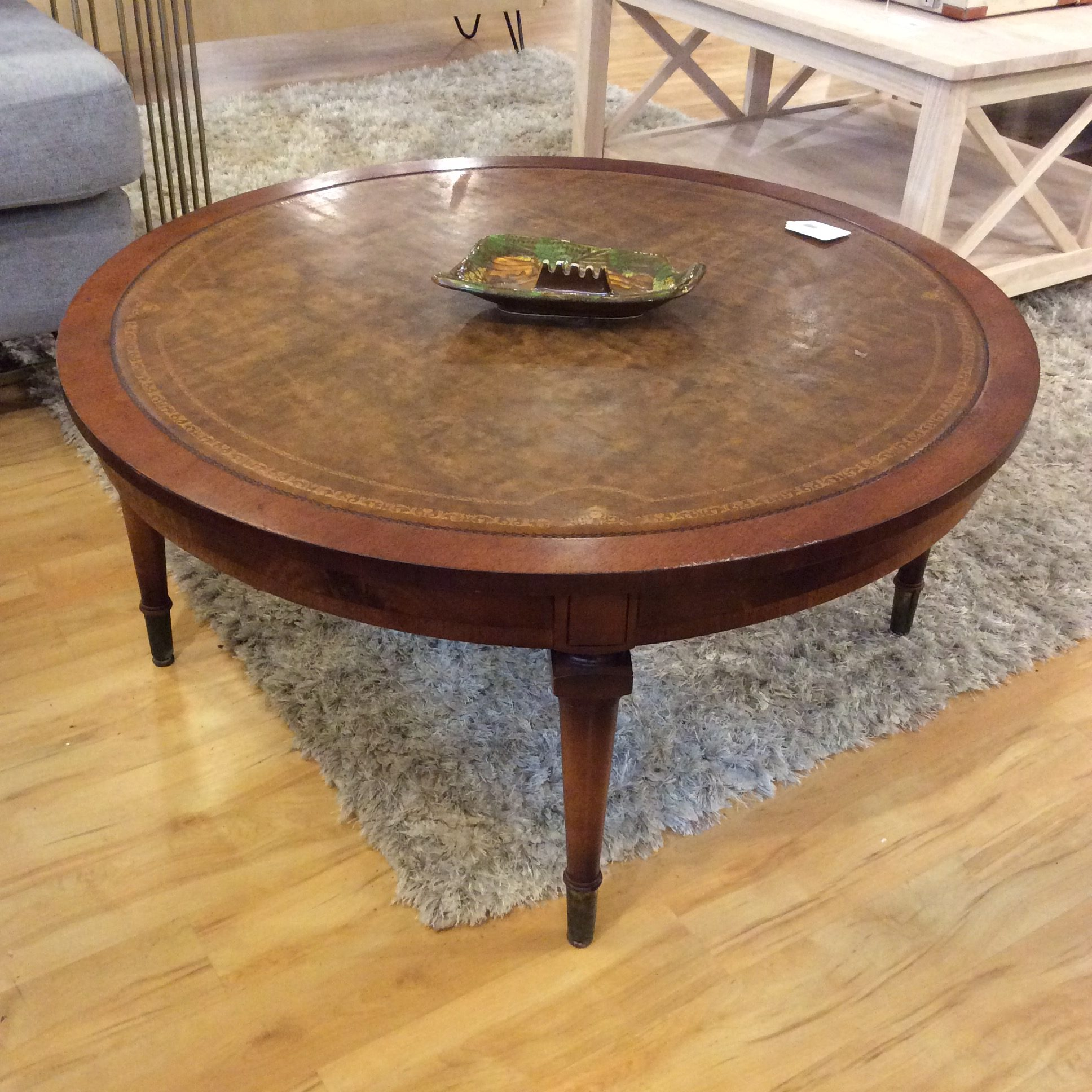 - Leather Top Round Coffee Table SOLD – Ballard Consignment
